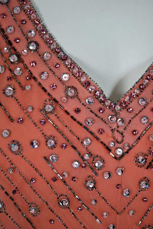 1975 Christian Dior Haute-Couture Beaded Peach Silk-Chiffon Cocktail Dress 5