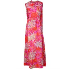 1960's Mainbocher Watercolor Floral Silk Back Duel-Trains Gown