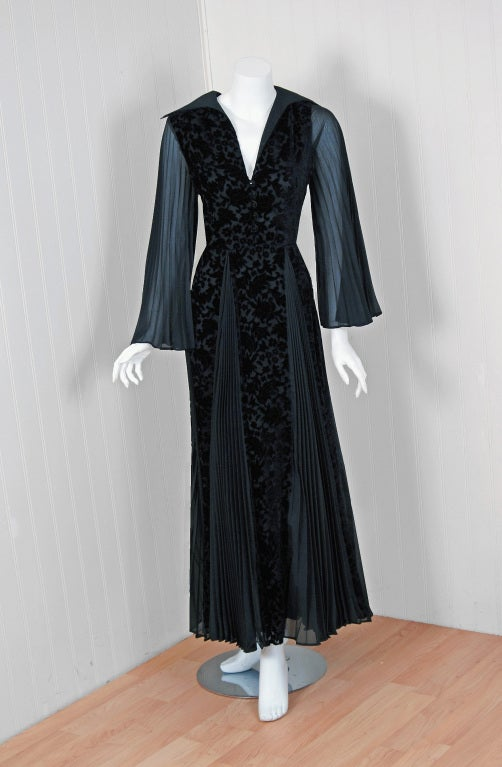 1970's Thea Porter Couture Black Cut-Velvet & Pleated Chiffon Bell-Sleeve Dress 2