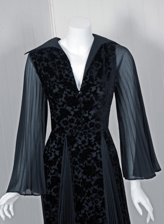 1970's Thea Porter Couture Black Cut-Velvet & Pleated Chiffon Bell-Sleeve Dress 3