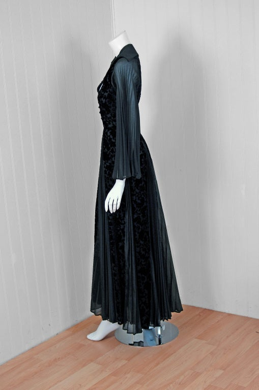 1970's Thea Porter Couture Black Cut-Velvet & Pleated Chiffon Bell-Sleeve Dress 5