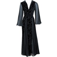 1970's Thea Porter Couture Black Cut-Velvet & Pleated Chiffon Bell-Sleeve Dress