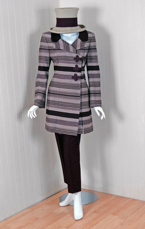 1990's Jacques Fath Haute-Couture Striped Silk Jacket Skirt Suit & Matching Hat 2