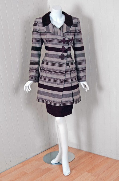 1990's Jacques Fath Haute-Couture Striped Silk Jacket Skirt Suit & Matching Hat 3