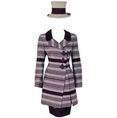1990's Jacques Fath Haute-Couture Striped Silk Jacket Skirt Suit & Matching Hat