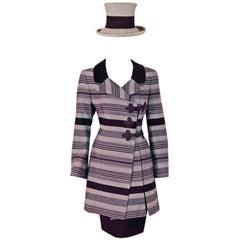 Jacques Fath Haute-Couture Striped Silk Jacket Skirt Pants Hat 4-Piece Set, 1994