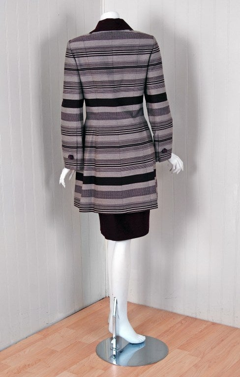 1990's Jacques Fath Haute-Couture Striped Silk Jacket Skirt Suit & Matching Hat 5