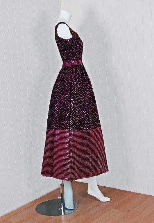 1960's Norman Norell Black & Pink Sequin Evening Tea-Gown Dress 4