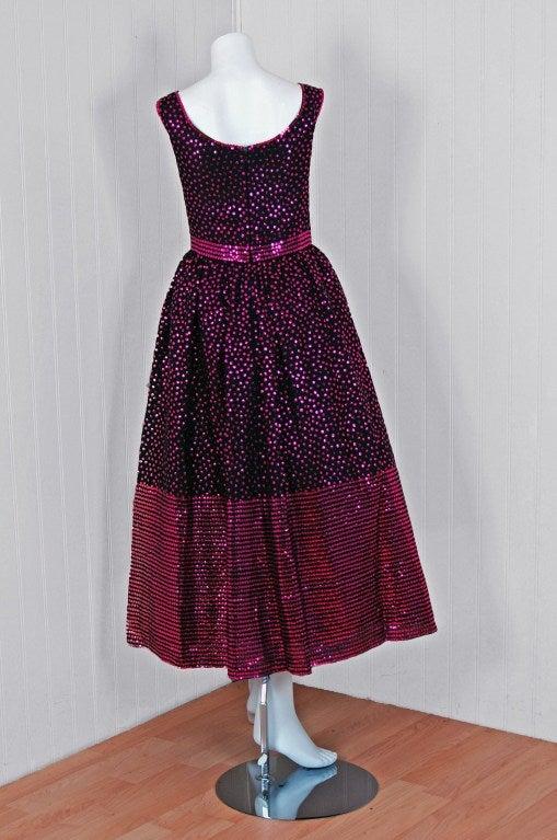 1960's Norman Norell Black & Pink Sequin Evening Tea-Gown Dress 5
