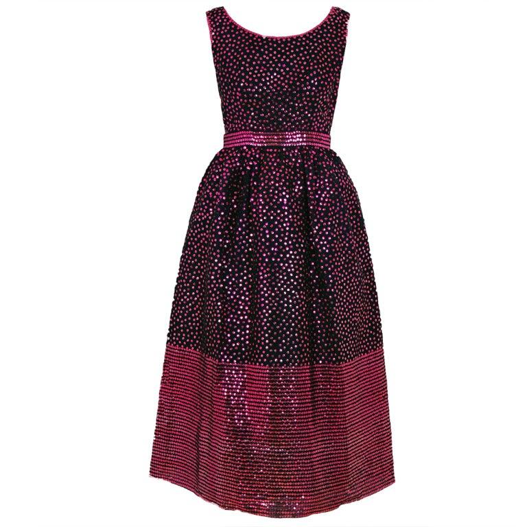 1960's Norman Norell Black & Pink Sequin Evening Tea-Gown Dress 1