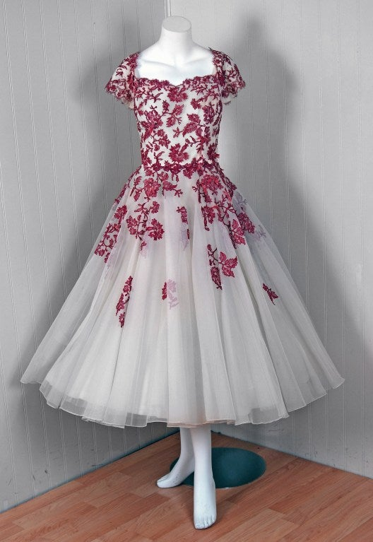 1950's Peggy Hunt Chantilly-Lace & Tulle Full-Skirt Party Dress 2