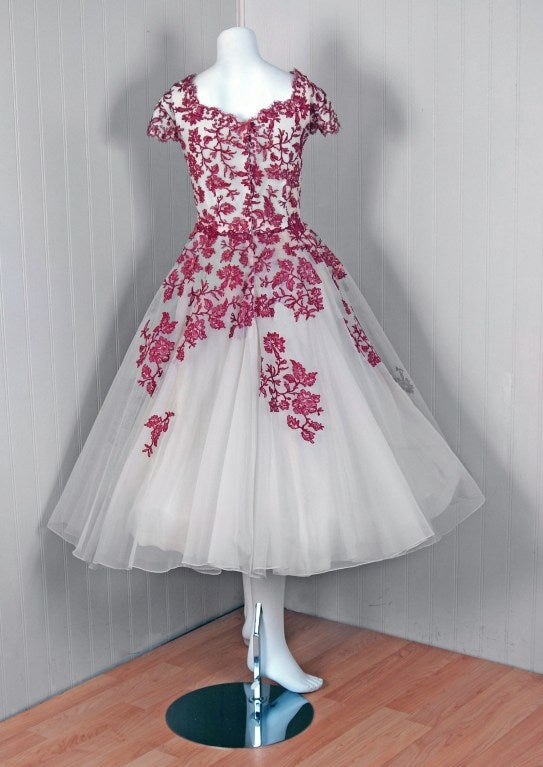 1950's Peggy Hunt Chantilly-Lace & Tulle Full-Skirt Party Dress 6