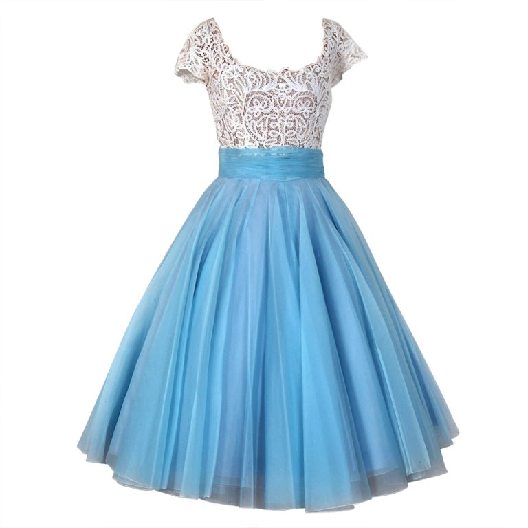 1950's Samuel Winston Baby-Blue Organza and White Lace ...