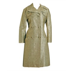1960's Jacques Heim Metallic-Gold Lame Mod Deco Dress & Coat