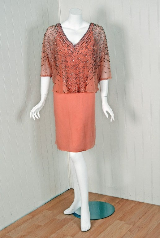 1975 Christian Dior Haute-Couture Beaded Peach Silk-Chiffon Cocktail Dress 2