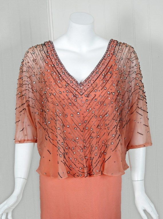 1975 christian dior haute couture beaded peach silk for Dior couture dress price