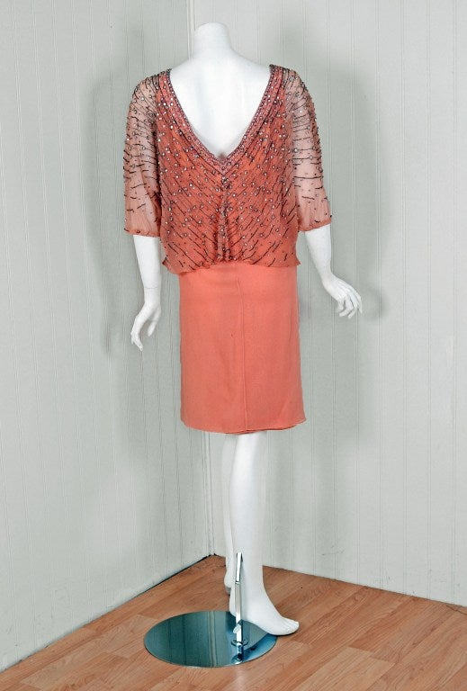 1975 Christian Dior Haute-Couture Beaded Peach Silk-Chiffon Cocktail Dress 6