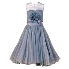 1950's Harvey Berin Dove-Gray Silk Chiffon Applique Party Dress