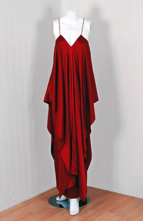 1970's Yves Saint Laurent Grecian Haute-Couture Red Satin Dress 2