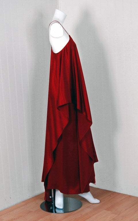 1970's Yves Saint Laurent Grecian Haute-Couture Red Satin Dress 3
