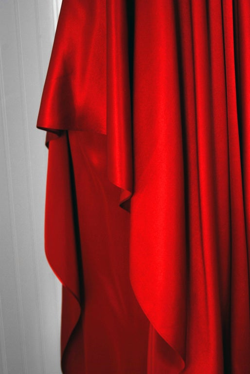 1970's Yves Saint Laurent Grecian Haute-Couture Red Satin Dress 4