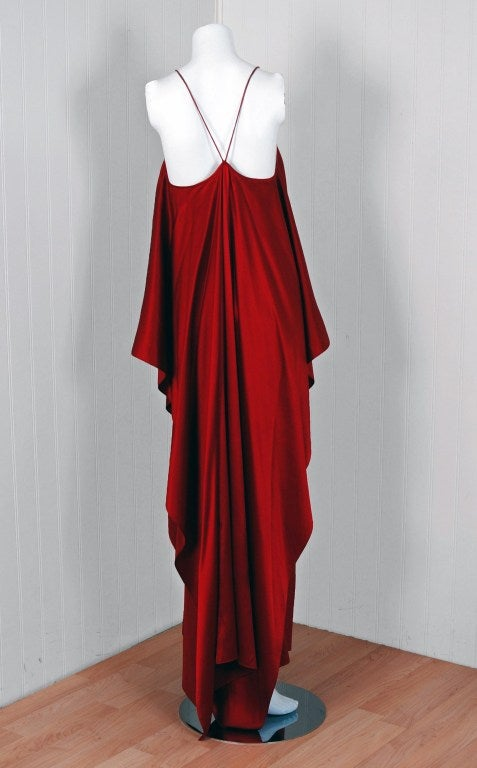 1970's Yves Saint Laurent Grecian Haute-Couture Red Satin Dress 5