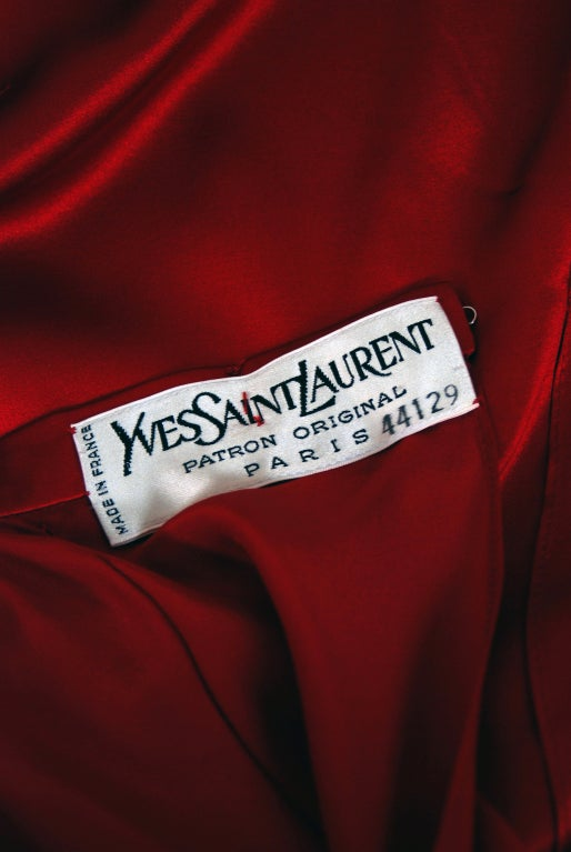 1970's Yves Saint Laurent Grecian Haute-Couture Red Satin Dress 6