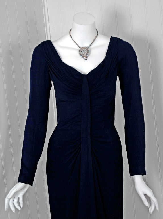 Black 1950's Ceil Chapman Navy-Blue Ruched Silk-Jersey Hourglass Cocktail Dress For Sale