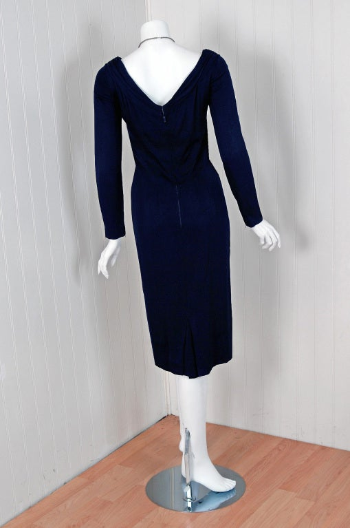 Women's 1950's Ceil Chapman Navy-Blue Ruched Silk-Jersey Hourglass Cocktail Dress For Sale