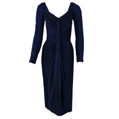 1950's Ceil Chapman Navy-Blue Ruched Silk-Jersey Hourglass Cocktail Dress