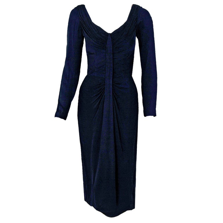 1950's Ceil Chapman Navy-Blue Ruched Silk-Jersey Hourglass Cocktail Dress For Sale