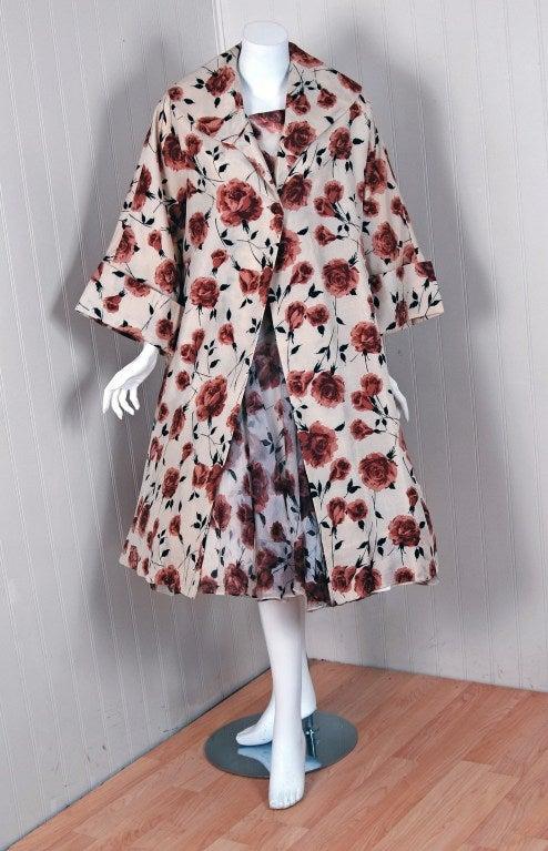 1950's Watercolor Mocha-Roses Floral Silk Print Dress & Coat 3