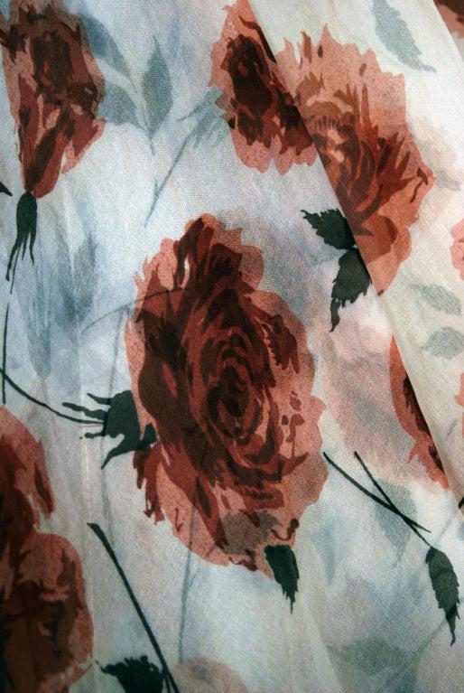 1950's Watercolor Mocha-Roses Floral Silk Print Dress & Coat 4