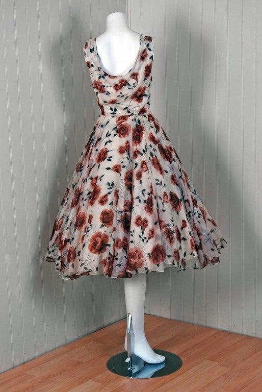 1950's Watercolor Mocha-Roses Floral Silk Print Dress & Coat 5