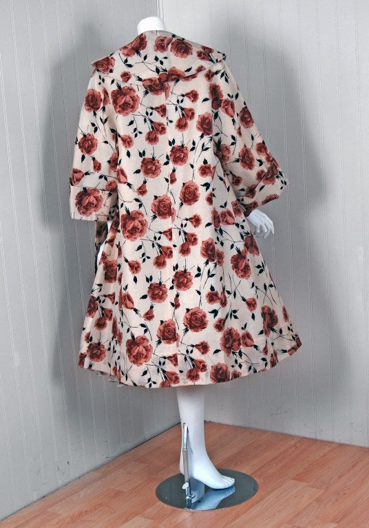 1950's Watercolor Mocha-Roses Floral Silk Print Dress & Coat 6