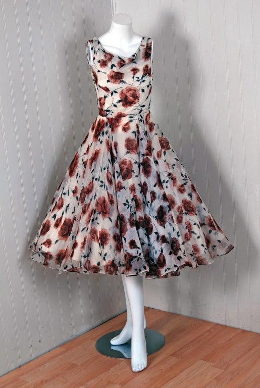 1950's Watercolor Mocha-Roses Floral Silk Print Dress & Coat 2