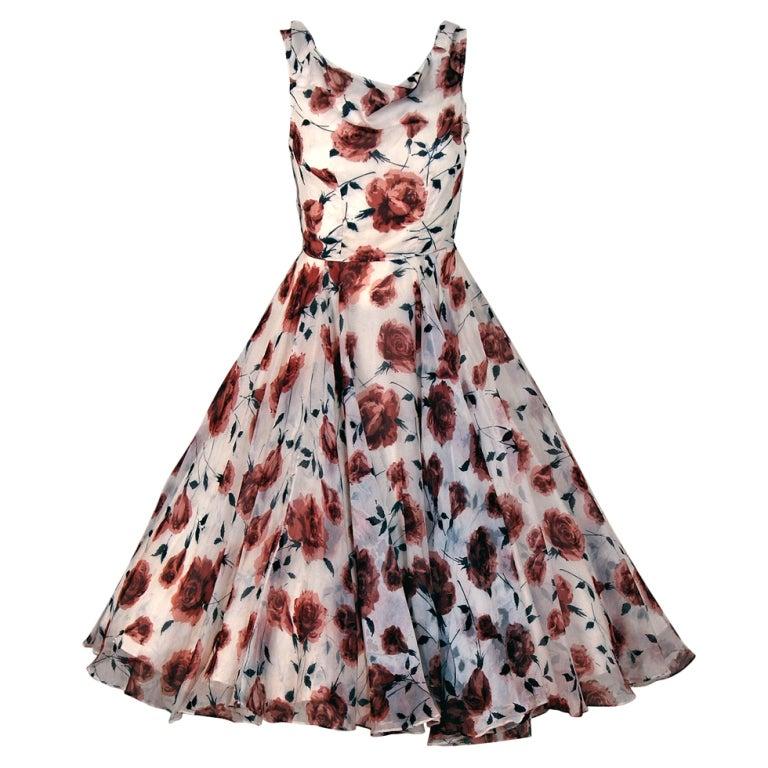 1950's Watercolor Mocha-Roses Floral Silk Print Dress & Coat 1