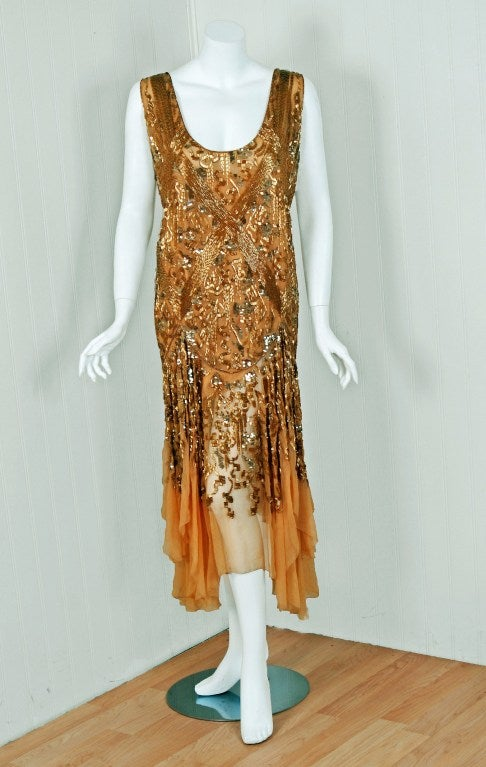 1920's French Metallic-Gold Beaded & Sequin Silk-Chiffon Flapper Dress 2