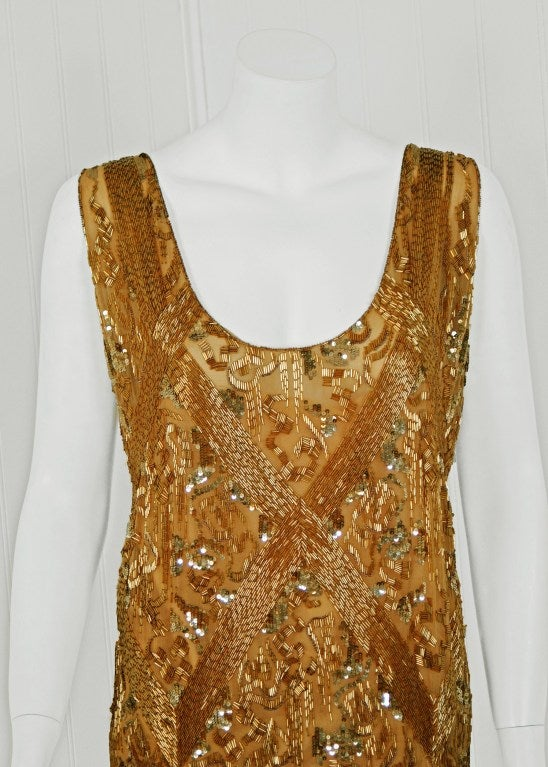 1920's French Metallic-Gold Beaded & Sequin Silk-Chiffon Flapper Dress 3