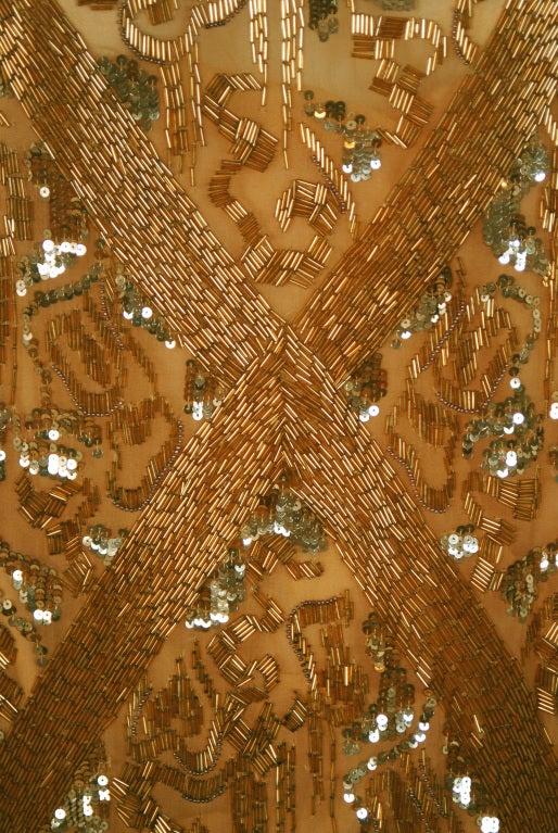 1920's French Metallic-Gold Beaded & Sequin Silk-Chiffon Flapper Dress 4