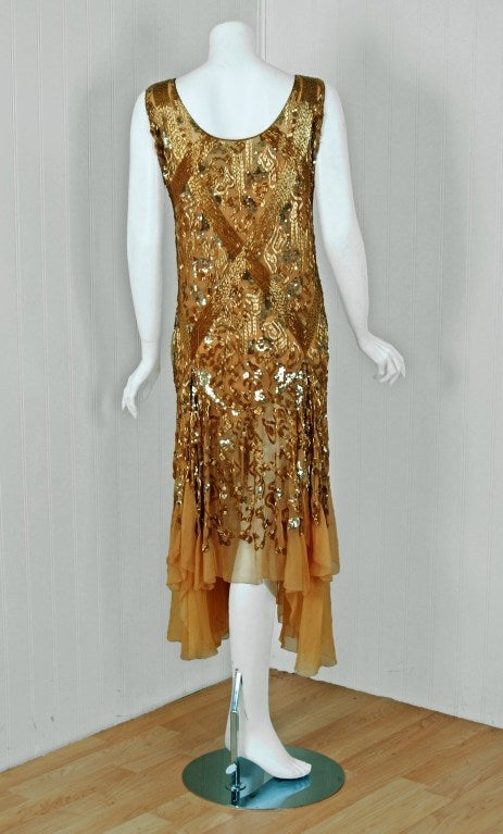1920's French Metallic-Gold Beaded & Sequin Silk-Chiffon Flapper Dress 6