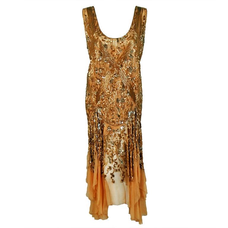 1920's French Metallic-Gold Beaded & Sequin Silk-Chiffon Flapper Dress 1