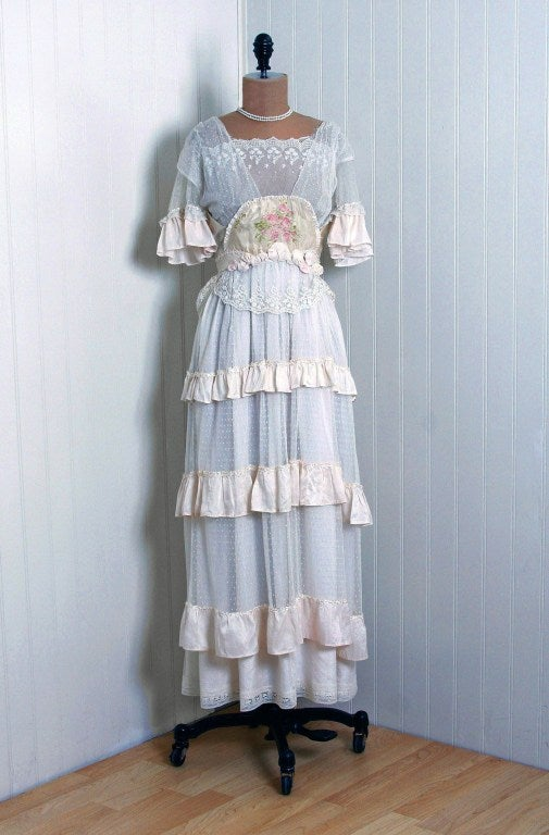 1910's Edwardian Ivory-White Lace & Watercolor Garden-Floral Silk Tea Dress 2