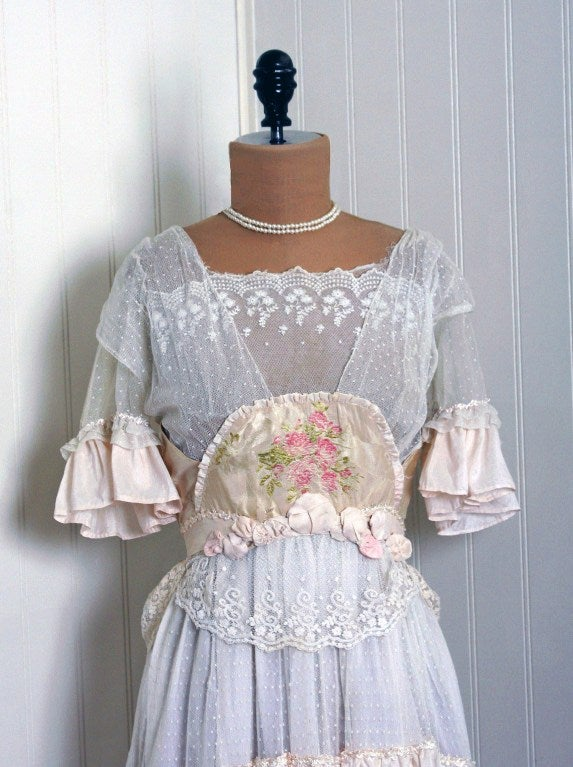 1910's Edwardian Ivory-White Lace & Watercolor Garden-Floral Silk Tea Dress 3