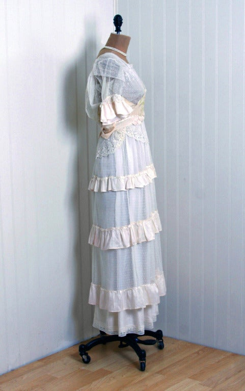 1910's Edwardian Ivory-White Lace & Watercolor Garden-Floral Silk Tea Dress 5