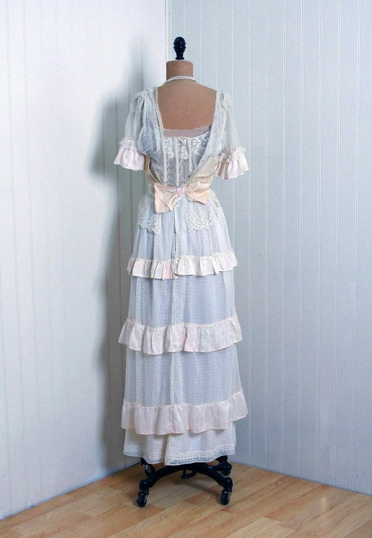 1910's Edwardian Ivory-White Lace & Watercolor Garden-Floral Silk Tea Dress 6
