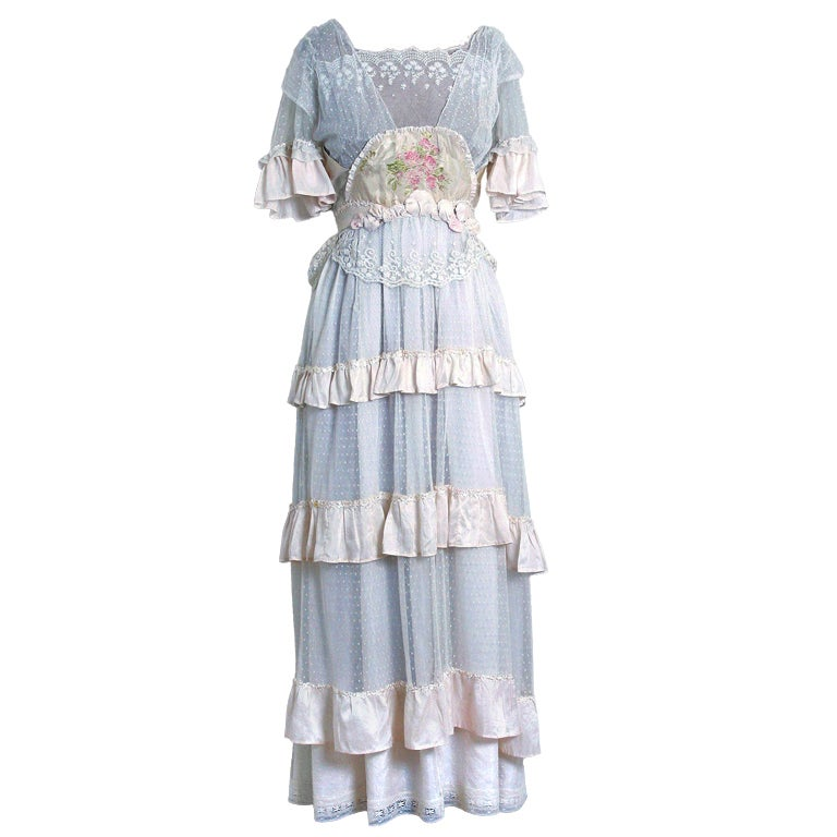 1910's Edwardian Ivory-White Lace & Watercolor Garden-Floral Silk Tea Dress 1