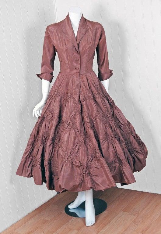 1950's Ceil Chapman Silk-Taffeta Mocha Ruched Full Party Dress 2