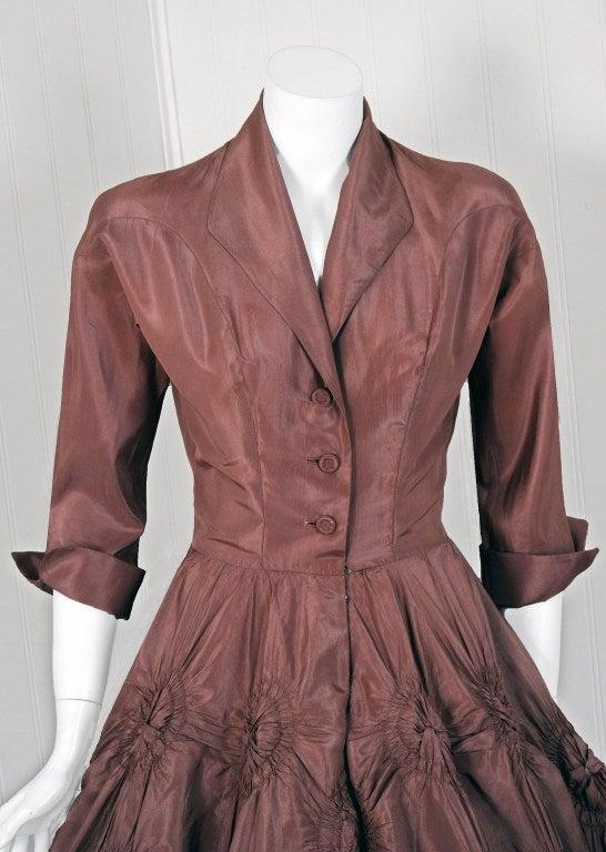 1950's Ceil Chapman Silk-Taffeta Mocha Ruched Full Party Dress 3