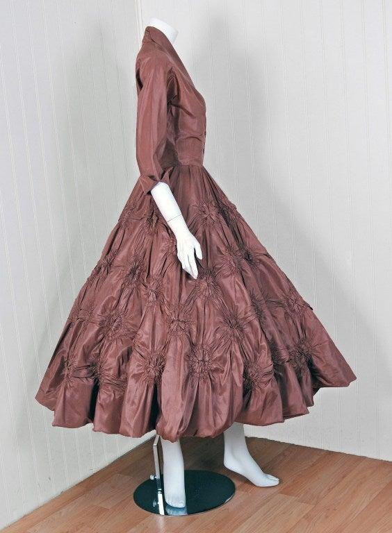 1950's Ceil Chapman Silk-Taffeta Mocha Ruched Full Party Dress 5